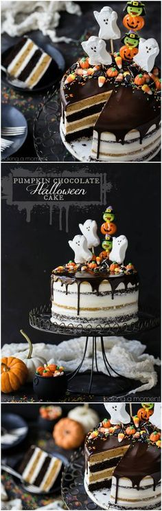 Cake Cake Cake Cake: Pumpkin Chocolate Halloween Cake: the layers were moist and delicious and the frosting is like nothing else I've ever had! Really easy to decorate too, it's just candy but it looks incredible!