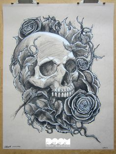 Skull and Roses Work Number 1. Charcoal on 18x24 Strathmore toned tan drawing paper.