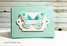 My new blog series, Create a Card Monday on iStampin.com. Using Stampin' Up! Watercolor Wings bundle. Visit www.iStampin.com to learn more.