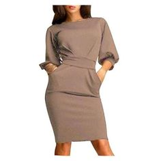 Women's Slim Bodycon Half Sleeve O-neck Party Office Business Dress (€12) ❤ liked on Polyvore featuring dresses, khaki, khaki bodycon dress, brown dresses, party dresses, elbow length sleeve dress and slimming party dresses