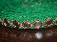 Green Traditional Trim Embroidered Border Lace Mirror Sequins Work 0.5'' Wide Crafting Supplies Indian Sewing Tape By The Yard
