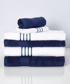 Look at this #zulilyfind! Indigo Stripe Quick Dry Egyptian Cotton Towel Set by Colonial Home Textiles #zulilyfinds