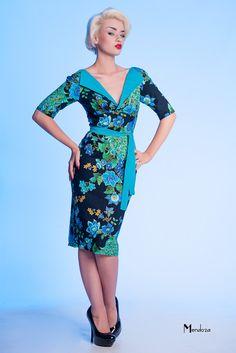 1950s style wiggle dress - Peacock