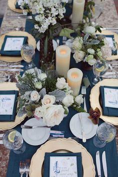 Elegant navy, cream and gold wedding centrepiece | Brandon Kidd via Ruffled