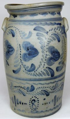 """Eight gallon stoneware churn, Greensboro, PA, origin, circa 1875, H 20 3/4"""""""
