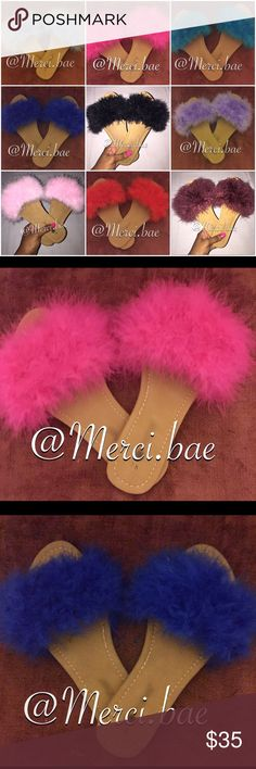 Furry Sandals Colors: Hot Pink/Light Pink/Teal/Blk/LightBlue/DarkBlue/ Burgundy/Purple/Red Material: Faux Fur Includes: Furry Sandals ****Due To Lack Of Size Variations, When Ready To Purchase LEAVE A NOTE including your personal shoe size**** Shoe Sizes<Women: US(5/6),US(6/7),US(7/8),US(8/9),US(9/10),US(11) Shoes Sandals