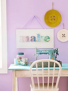 Sewing Room Ideas - Wall Buttons and vintage sewing machine
