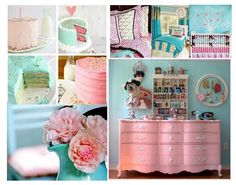 inspiration for bellas room... different shades of pink, mint, and turquoise with a grannyish feel
