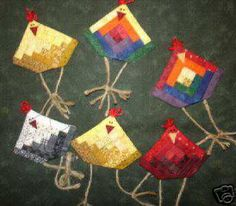 MINIATURE LOG CABIN CHICKEN PIN ORNAMENT QUILT PATTERN