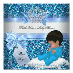 glitter baby shower boy blue little prince crown 2 card | baby, Baby shower invitations