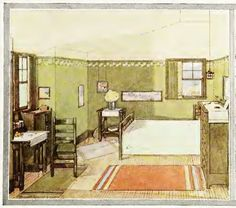 """A Mission Bedroom from the 1912 """"Home Building and Decoration"""" by Henry Collins Brown. (Blog post also includes stencil detail.)"""