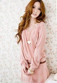 Różowa Bawełniana Sukienka Z Długimi Rękawami