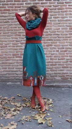 """Купить Валяная юбка """"Рыжая осень """" - морская волна, рисунок, валяние из шерсти"""