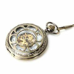 Yesurprise Mini Series See Through Hollow Antique Bronze Big Mechanical Pocket Watch F008 Yesurprise. $31.80