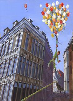 """Il y a plus de 20 ans, lors de l'épisode du coup de queue du bas de la rue des Clercs,  des ballons sont restés accrochés à la queue du dragon. Les hommes de feuilles ont été """"en affaire"""" pour les décrocher."""