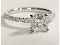 Blue Nile: Princess Cut, Petite Pave Diamond Engagement Ring. PERFECT!:) schneidc
