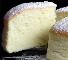 Jiggly Fluffy Japanese Cheesecake Add c sugar and 1 tsp vanilla to yolk batter. Add tsp cream of tartar to egg whites.Jiggly Fluffy Japanese Cheesecake This tastes amazing! More sponge like than the CHEESCAKE one might expect, however absolutely magical t Just Desserts, Delicious Desserts, Dessert Recipes, Yummy Food, Egg Desserts, Light Desserts, Asian Desserts, Health Desserts, Let Them Eat Cake