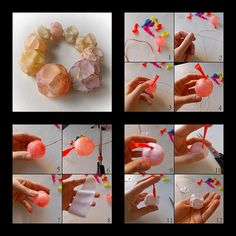 mini photo tutorial.. using thin copper wire and balloon to make a hollow clay bead.  Interesting shape.  #Polymer #Clay #Tutorials. Almost like little clay paper lantern beads!