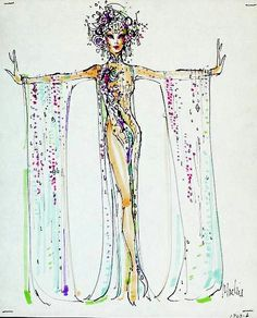 Bob Mackie costume sketch for Mitz Gaynor