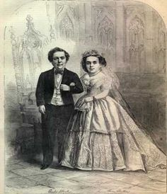 In 1842, Barnum hired four-year old Charles Sutton, who soon became world-famous as General Tom Thumb.  He wed Lavinia Warren in 1863, that drew the greatest public attention.  Barnum charged $75 per ticket and 2,000 people attended.  President and Mrs. Lincoln wined and dined them at the White House.