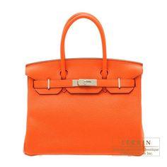 Birkin bag 30 Orange poppy Clemence leather Silver hardware