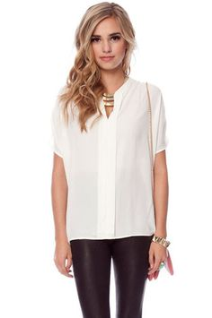 V- Neck Short Sleeve Blouse in Ivory $31 at www.tobi.com..i want the whole outfit!!!!