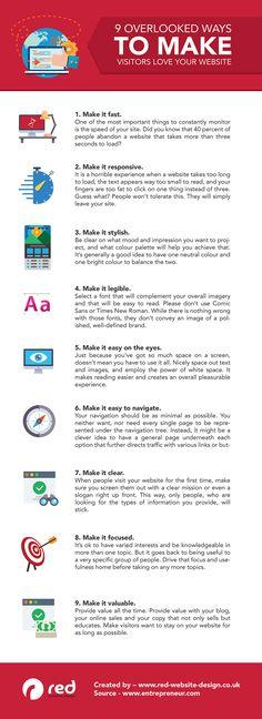 9 Ways to Make Visitors Love Your Website - Infographic // Web Design, Web Design Tips, Responsive website, responsive website tips Business Marketing, Internet Marketing, Online Marketing, Seo Marketing, Media Marketing, Blog Tips, Love Website, Start Ups, Web Design Tips
