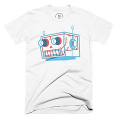 """""""Robot Skull"""" designed by Alphabet Arm. At Alphabet Arm, we've always wondered at the wonder of robots… but wondered what lurked beneath their exoskeleton. Ponder no longer with this rad """"Skull X-Ray"""" T-shirt."""