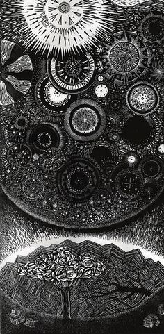 Infiniteness Woodcut by Oliver Michael Robertson - This image is a picture of the universe. It expresses an inner spiritual space of expansiveness and beauty.