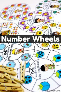 Number Wheels help build counting and number quantity skills! Use number words, numerals, or dots on clothes pins. Fun kindergarten math game!