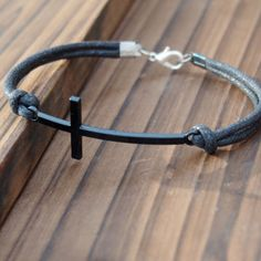 Mens leather bracelet Cross Gun Black Color Vintage Style--Quality Black Wax cord Leather--Best Gift Jewelry for friendship | Personalized Bracelets | Custom Necklace | Wholesale craft supplies - Turntopretty