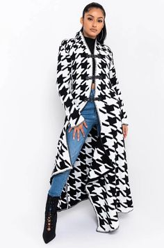 WINTER READY LONG SLEEVE HOUNDSTOOTH CARDIGAN Houndstooth, Mock Neck, Snug Fit, Vegan Leather, Duster Coat, Kimono Top, Black And White, Long Sleeve, Antique Silver
