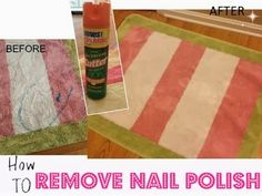 The Secret to Removing Nail Polish Spills From Clothes and Carpet.  I have not tried this yet, but reviews say it works.