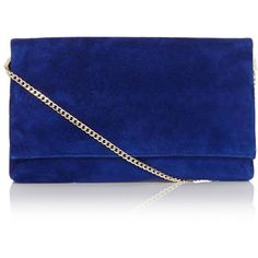 Karen Millen Suede Clutch (225 CAD) ❤ liked on Polyvore featuring bags, handbags, clutches, purses, bolsas, bolsos, chain-strap handbags, chain strap purse, hand bags and fold-over clutches