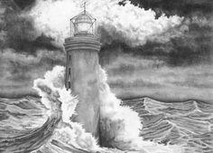 Bildergebnis für leuchtturm zeichnung bleistift