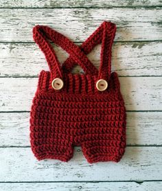 Crochet Baby Shorts/Pants with Suspenders- Diaper Cover in Cranberry Newborn to 6 Month Size- MADE TO ORDER – socken stricken Crochet Baby Pants, Crochet Wool, Quick Crochet, Crochet Bebe, Crochet For Boys, Newborn Crochet, Crochet Shoes, Boy Crochet, Newborn Boy Clothes
