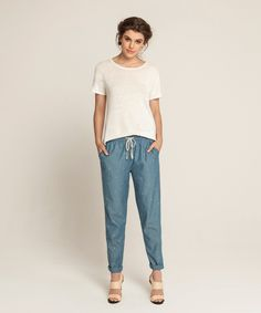 Fully Fashioned Linen T - Off White, Embroidered Lounge Pants - Sky Blue Indigo