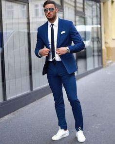 New Tailor Made Light Navy Blue Groom Tuxedos Casual Man Suit Slim Fit Mens Wedding Prom Party Suits(Jacket+Pants+Tie)terno Men's Business Outfits, Business Casual Attire, Blue Suit Wedding, Wedding Suits, Formal Wedding, Mens Fashion Suits, Mens Suits, Mens Casual Suits, Casual Man