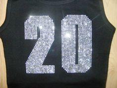 SALE Personalized jersey number Football Mom bling studded Crystal Rhinestone Tank Short Sleeve Long Sleeve Shirt. $24.95, via Etsy.