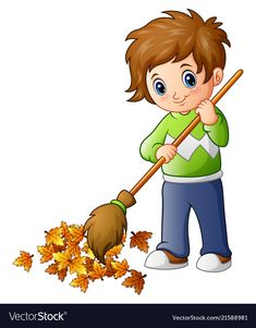 Cartoon boy with broom and autumn leaves Vector Image Cartoon Boy, Cartoon Pics, Drawing For Kids, Art For Kids, Earth Day Drawing, Oral Motor Activities, Art Classroom Management, School Painting, Action Words