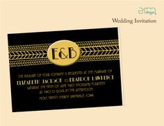 Horizontal Gatsby Wedding Invitation. Gold & Black Wedding Invitation. #GatsbyWedding #Black&GoldWedding