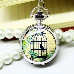 Casual male and female models retro silver quartz pocket watches