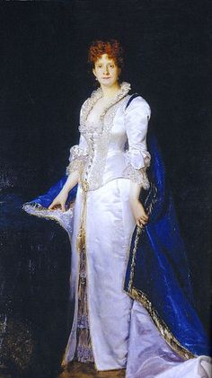 """Carolus-Duran: """"Portrait of Queen Maria Pia of Portugal""""(1847-1911) Date1880, oil on canvas, Current location: Ajuda National Palace."""