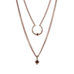 Full Bloom Double Charm Necklace- Rose Gold | Luv Aj