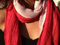 Red Koh twotoned Cotton Scarf by SmilesbyJEM on Etsy, $25.00