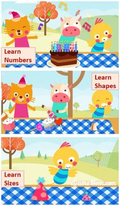 Learning at Birthday Celebration Parties - numbers, shapes, colors, sizes, ... A fun app for kids age 3 to 6 #kidsapps