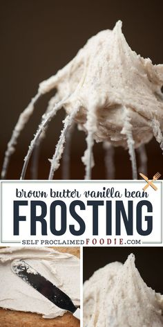 Brown Butter Frosting, Vanilla Bean Cakes, Sugar Frosting, Vanilla Buttercream Frosting, Cake Icing, Frosting Recipes, Cupcake Cakes, Baking Recipes, Dessert Recipes