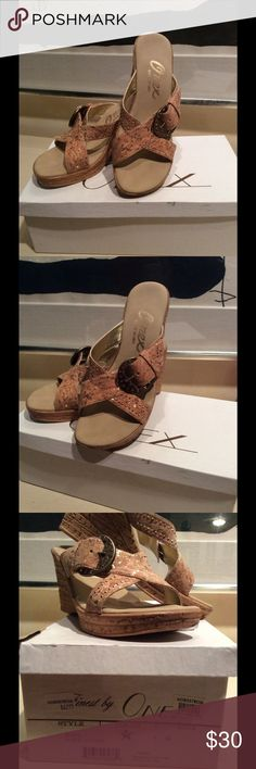 """🎉SALE!🎉NWOT! ONEX """"TRISH"""" Tan Shoe! 🔥HOT DEAL!🔥NWOT! ONEX Tan Strappy Wedge W/Gold Embellished Buckle on the Front. Slip On. Size 7 ONEX Shoes Wedges"""