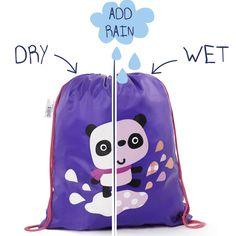 86f2b08396 This is a Purple colour changing kids drawstring swimming bag with a cute  Panda illustration flower design.