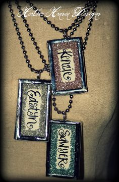 Handwritten names in vintage glass glitter.  So beautiful... I see some Christmas gifts in the making.